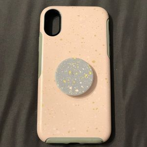 iPhone X Otterbox Symmetry case w/Popsocket